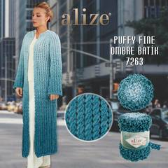 Пряжа Alize Puffy Fine Ombre Batik цвет 7263