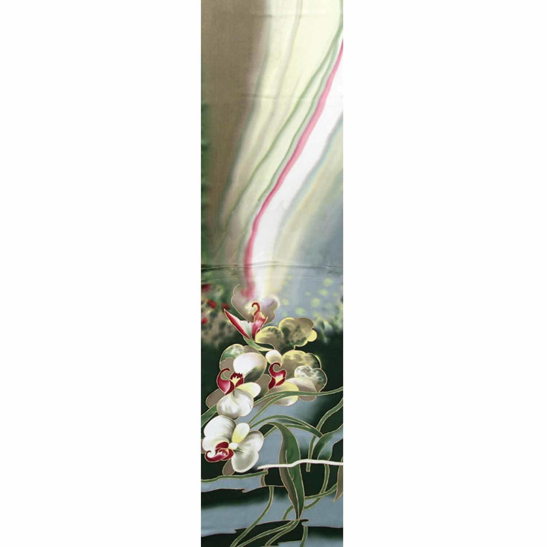 Шелковый шарф батик Орхидеи Олива