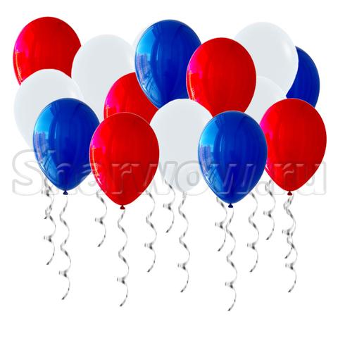 Воздушные шары под потолок Российский триколор - зеркальный