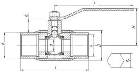 Конструкция LD КШ.Ц.М.GAS.040.040.П/П.02 Ду40
