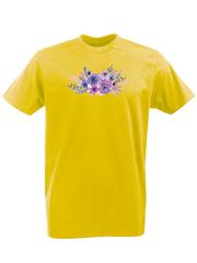 Футболка с принтом Цветы (Пионы) желтая 001