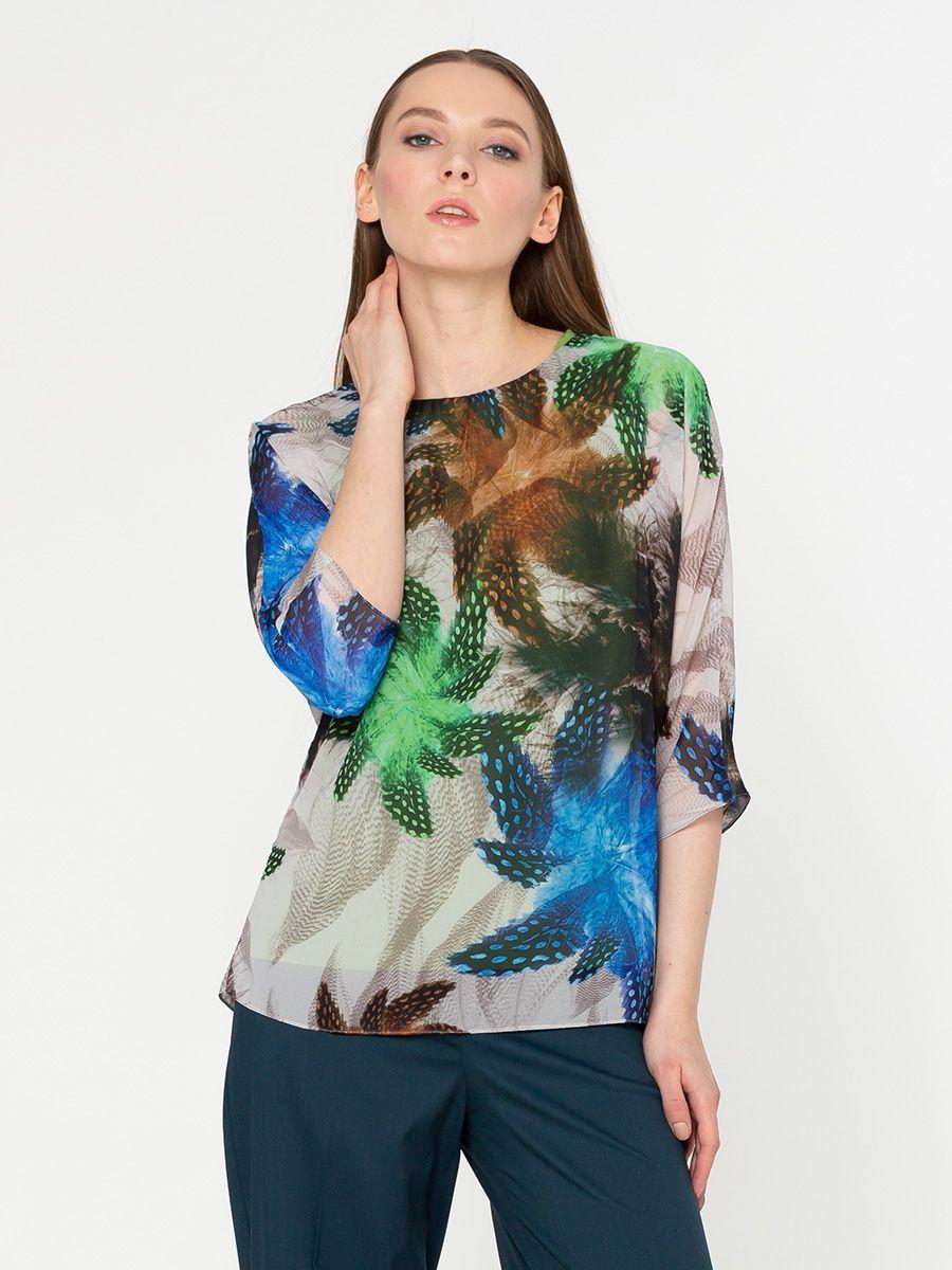 Блуза Г569-551 - Двухслойная блуза с принтом: верхний слой - шифон (ПЭ 100%), к телу - вискозный трикотаж. Сзади на шифоне разрез по всей длине. Эта модель станет украшением вашего гардероба и поможет вам создать элегантные запоминающиеся луки
