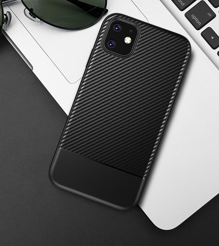 Тонкий чехол на iPhone 11 стиль карбон, серии Fit от Caseport