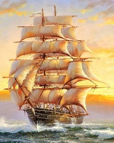 Алмазная Мозаика 40x50 Корабль мчит по волнам (арт. MGL3572 )