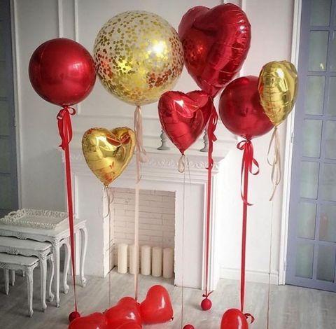 Сет воздушных шаров Красно-золотые сердца