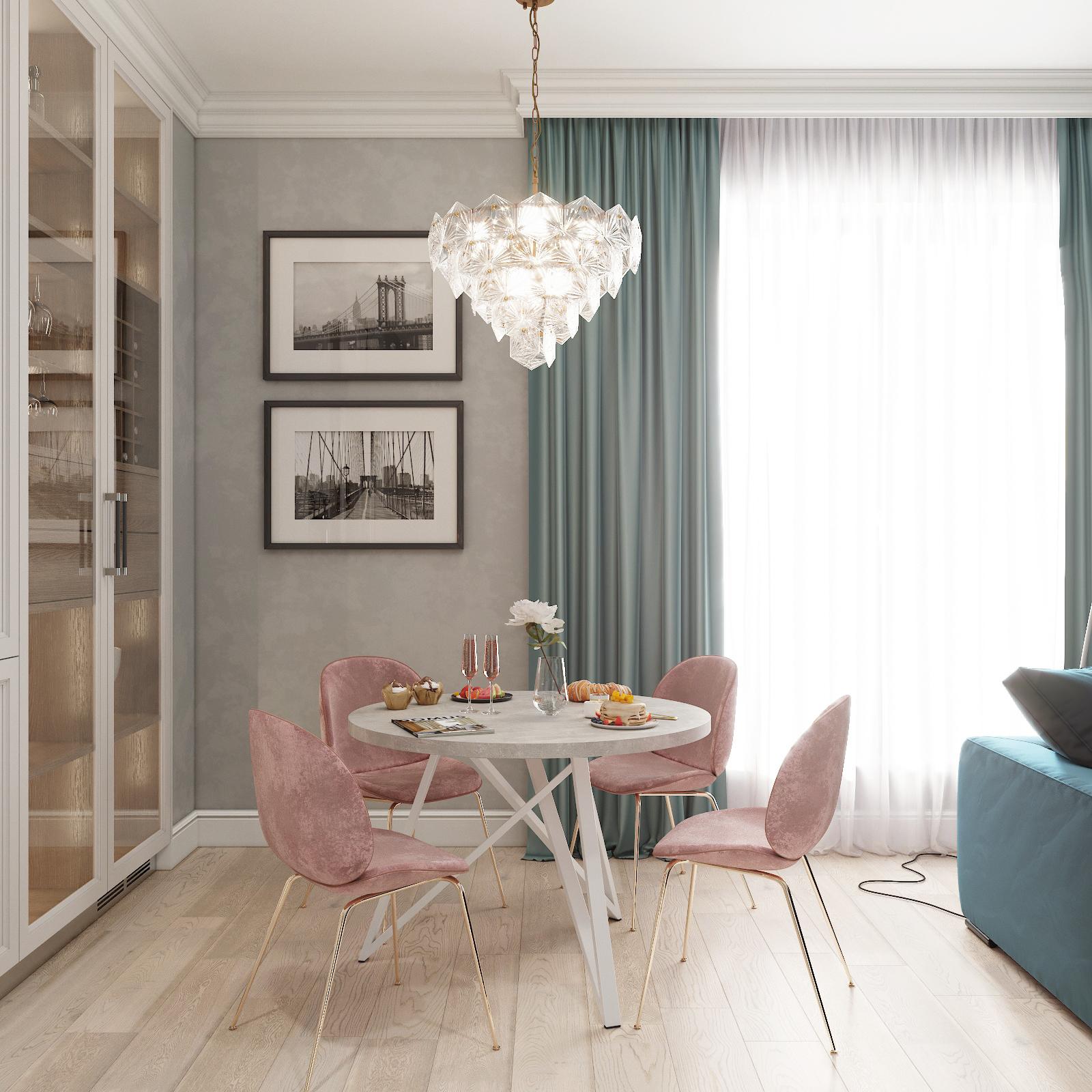 Обеденный стол ДОМУС Твист-1 бетон серый/металл белый