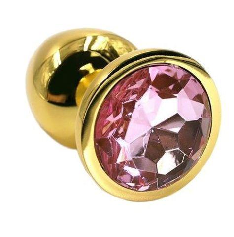 Золотистая алюминиевая анальная пробка с светло-розовым кристаллом - 6 см.
