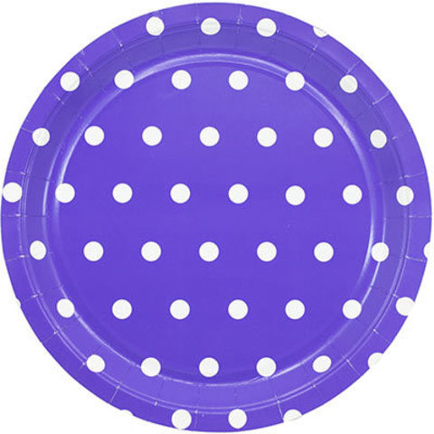 1502-3914 Тарелки малые Горошек фиолетовые, 23 см, 6 шт