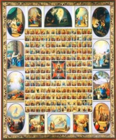 Икона Божией Матери Неопалимая Купина с иконографией