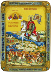 Большая Живописная икона Святой Благоверный Князь Димитрий Донской 42х29см на кипарисе в березовом киоте