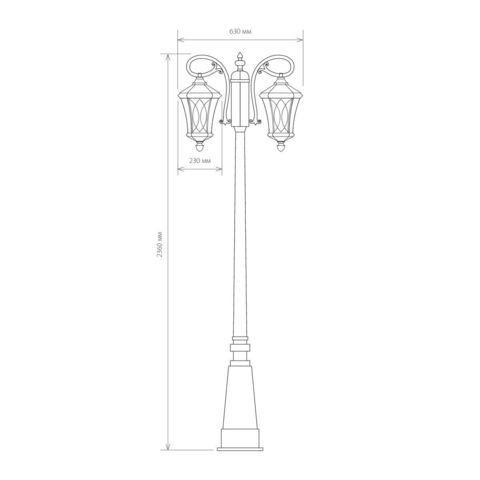 Virgo F/2 черное золото уличный двухрожковый светильник на столбе IP44 GLXT-1450F/2