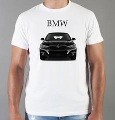 Футболка с принтом BMW (БМВ) белая 002