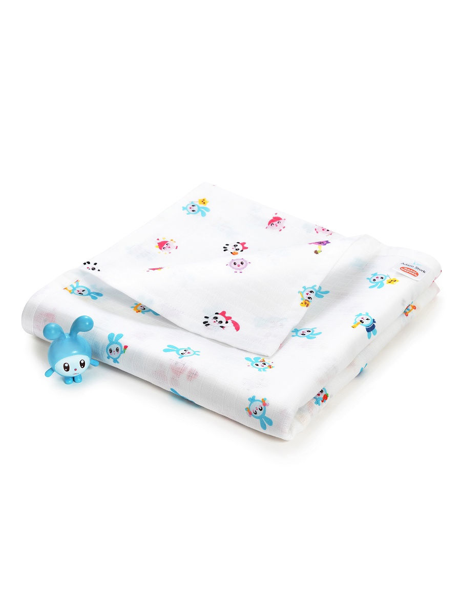 Муслиновое одеяло для новорожденных и детей Adam Stork лимитированной коллекции с малышариками крошик