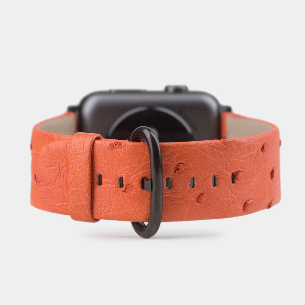 Ремешок для черных Apple Watch 38мм 40mm женский из натуральной кожи страуса, оранжевого цвета