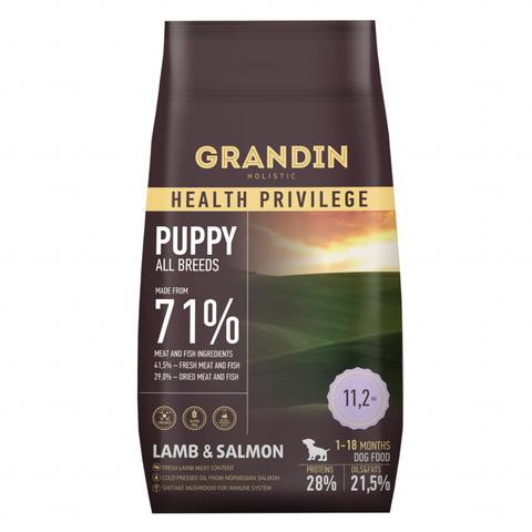 11,2 кг. Grandin Puppy all breeds lamb & salmon сухой корм для щенков, с ягненком и лососем