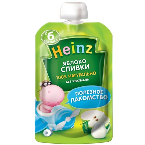 Пюре Heinz яблоко сливки пауч 90 гр. (6+ мес.)