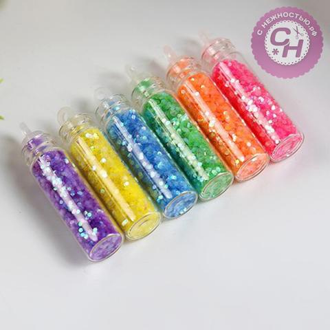 Блестки глиттер-хлопья для творчества, набор 6 цветов по 1 гр.