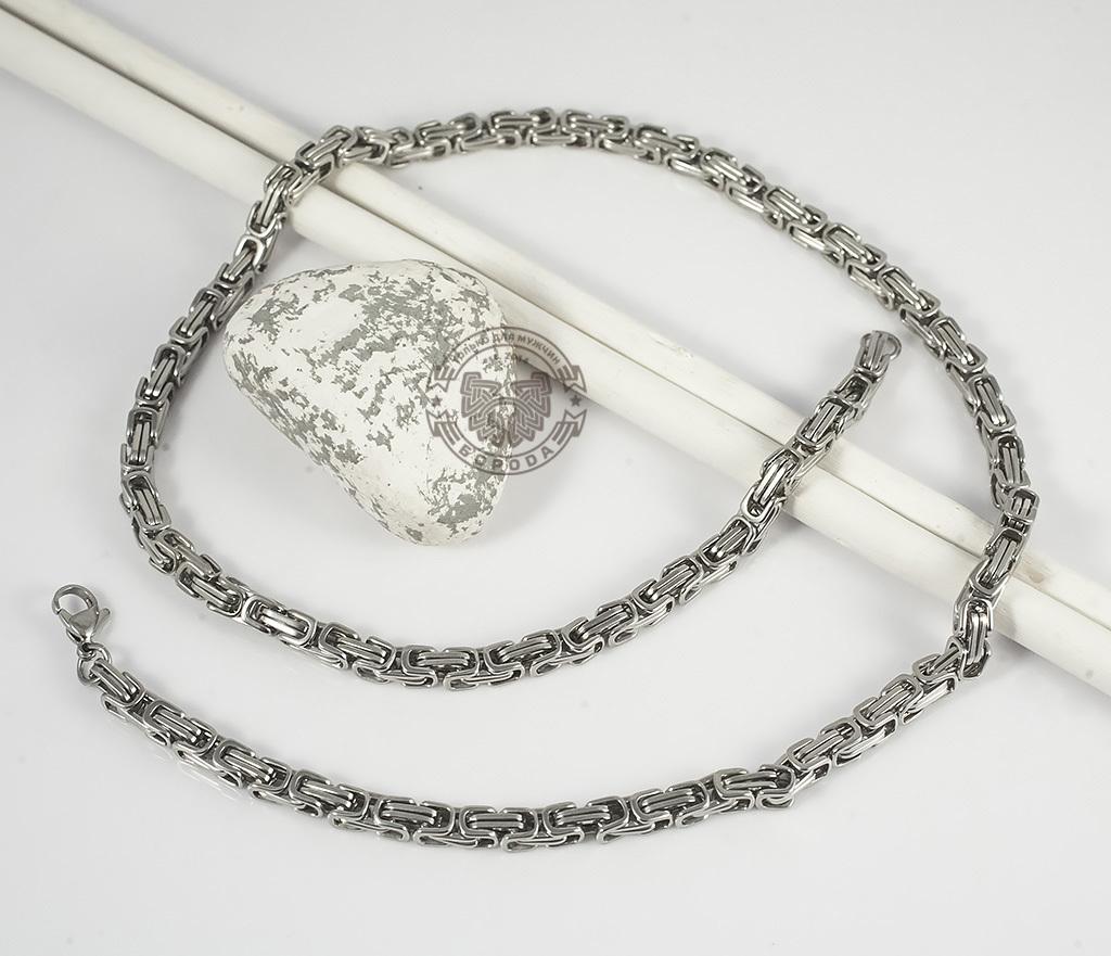 PM209 Мужская цепь из стали оригинального плетения (58 см) фото 02
