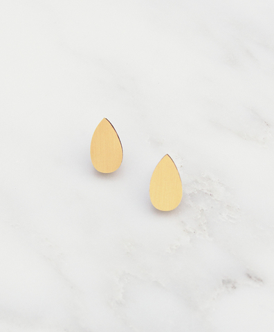 Серьги Raindrop Studs Brushed Brass
