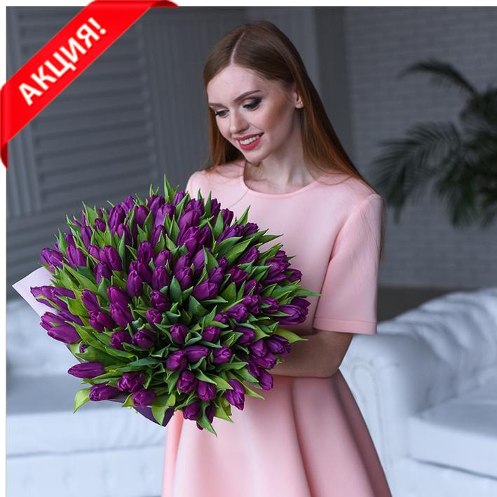 Букет 101 пурпурный тюльпан