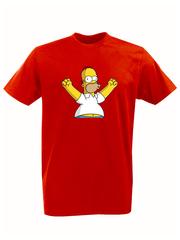 Футболка с принтом мультфильма Симпсоны (The Simpsons) красная 008