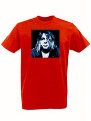 Футболка с принтом Курт Кобейн, Нирвана (Nirvana, Kurt Cobain) красная 002