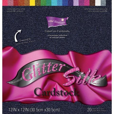 Набор бумаги  с глиттером Core'dinations Glitter Silk Cardstock Pack  -30х30 см. -20л