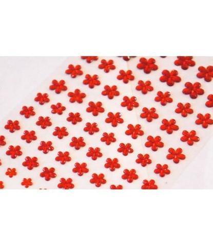 Стразы самоклеющиеся цветочки разного размера 78 шт красные