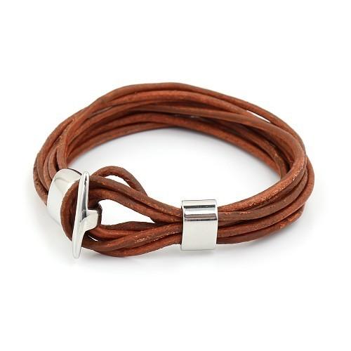 Мужской браслет из кожаного шнура с замочком Steelman mn0065