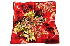 Итальянский платок из шелка красный с принтом 5404