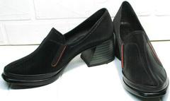 Модные туфли на среднем каблуке 6 см демисезонные H&G BEM 167 10B-Black.
