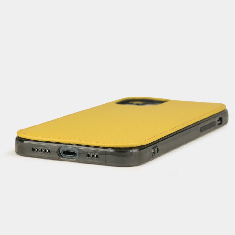 Чехол-накладка для iPhone 12/12Pro из натуральной кожи теленка, желтого цвета