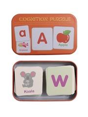 Развивающие и обучающие карточки SHAPES PUZZLE 56 элементов Алфавит-1 Серия Буквы и цифры в жестяной коробке