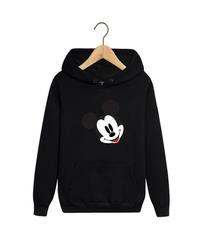 Толстовка черная с капюшоном (худи, кенгуру) и принтом Микки Маус (Mickey Mouse) 002