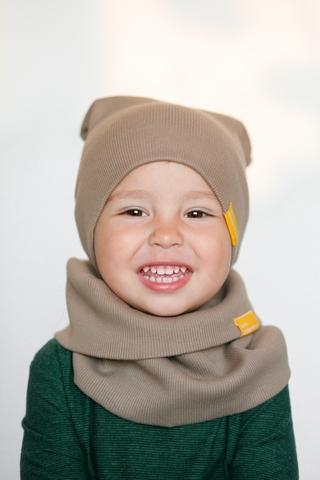 Детский снуд-горловинка из хлопка в рубчик какао