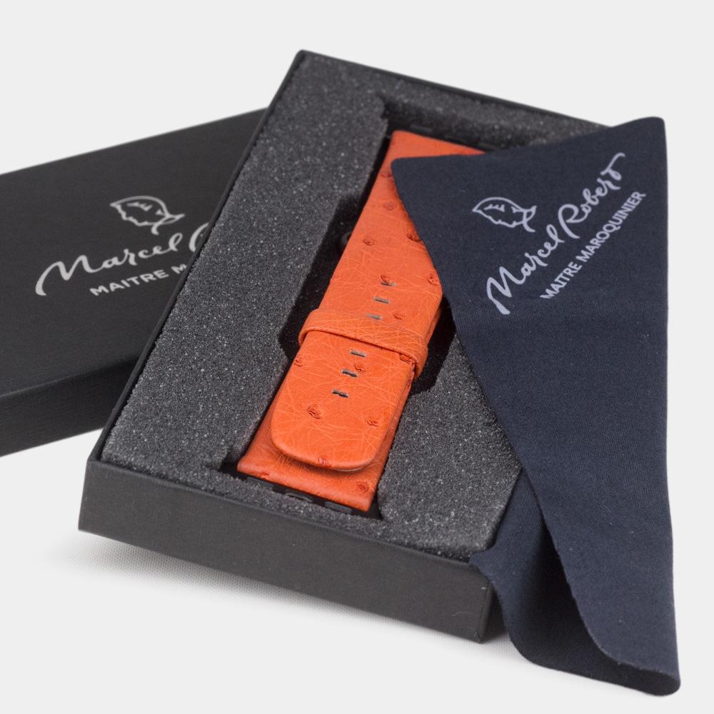 Ремешок для Apple Watch 38/40mm ST Classic из натуральной кожи страуса, оранжевого цвета