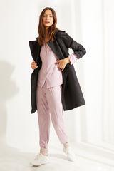 Рожева піжама сорочкового крою з довгими рукавами в смужку