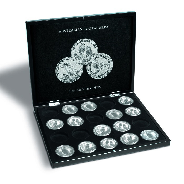 Презентационный кейс для 20 серебряных монет Kookaburra в капсулах, черный