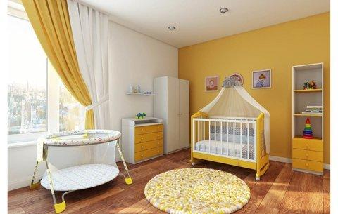 Кровать детская Фея 621 белый-солнечный