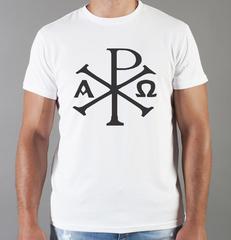 Футболка с принтом Альфа и Омега, Рыбка, Христианство, Православие, Христианские символы, белая 003