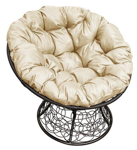 Кресло «Папасан» мини black/beige