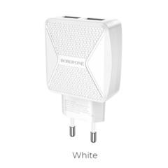USB Зарядное устройство BOROFONE BA45A Max, 2.4A, белый, два порта