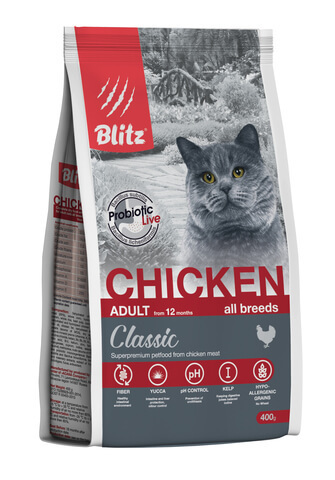 купить Blitz Adult Cats Chicken сухой корм для взрослых кошек с курицей 400 гр