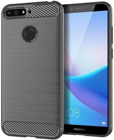 Чехол для Huawei Y6 Prime 2018 (Enjoy 8E, Honor Play 7A Pro) цвет Gray (серый), серия Carbon от Caseport