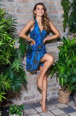 Платье из вискозы на запах синий принт