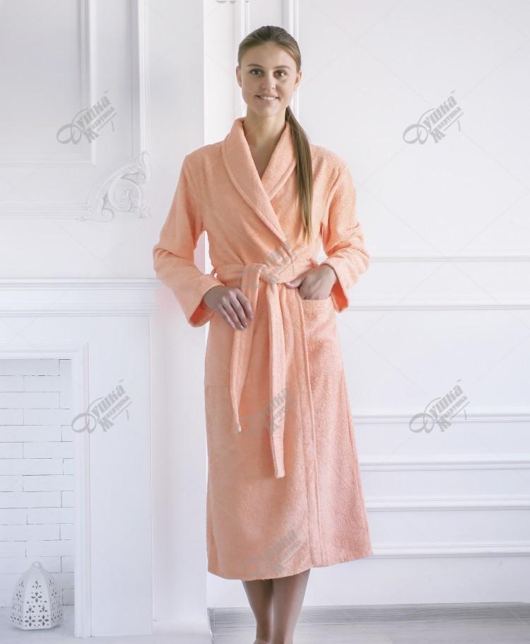 Халат махровый женский шаль 100% хлопок