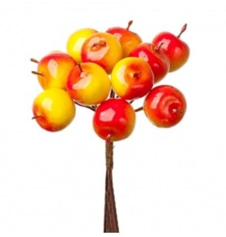 Набор яблок на вставках 12шт., размер: D2,2x2,5xL11см, цвет: красный/желтый