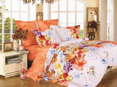 Сатиновое постельное бельё  1,5 спальное Сайлид  В-133