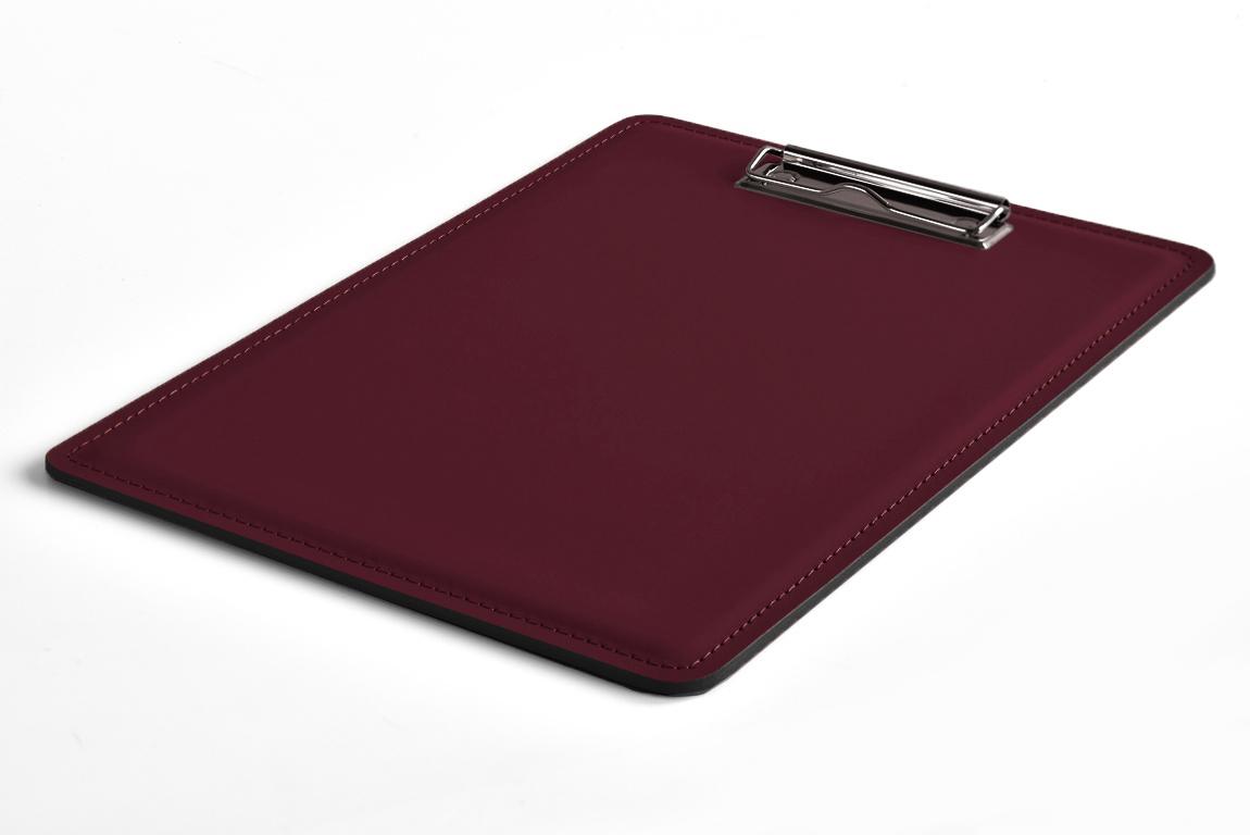 планшет бордовый кожаный с зажимом