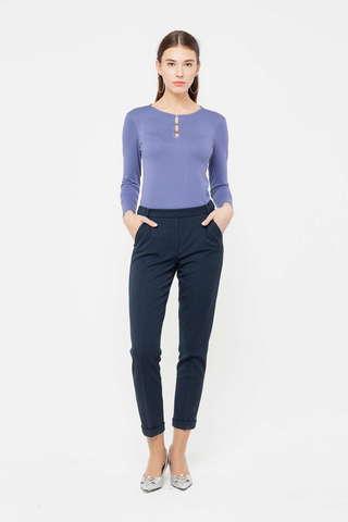 Фото темно-синие укороченные брюки с подворотами и карманами - Брюки А492-753 (1)